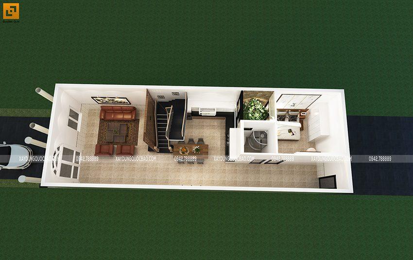Mặt bằng nội thất tầng trệt của nhà Tân cổ điển 2 tầng