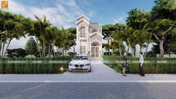 Phối cảnh ngoại thất nhà phố tân cổ điển 2 tầng tại Vĩnh Cửu, Đồng Nai của gia đình anh Tiến