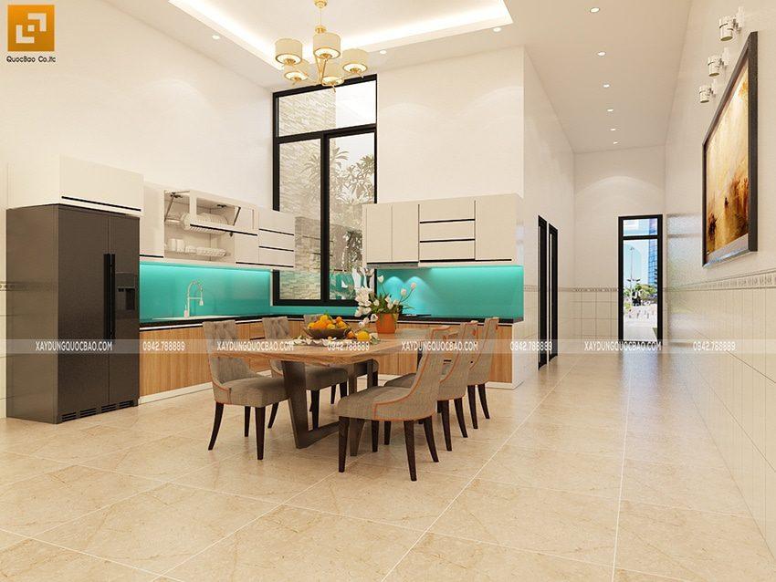 Không gian nội thất nhà bếp và phòng ăn tại tầng trệt được ngăn với phòng khách và phòng ngủ