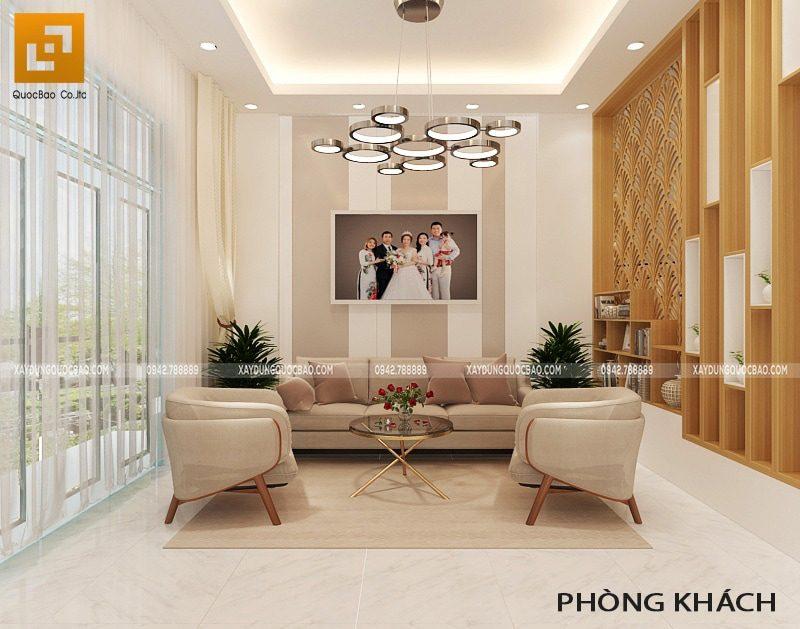 Không gian phòng khách sang trọng với bộ bàn ghế sofa cao cấp
