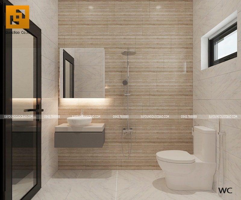 Không gian phòng tắm kết hợp phòng vệ sinh của biệt thự