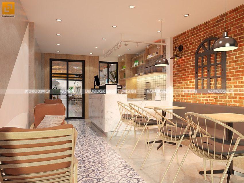 Tường gạch tạo cảm giác mộc mạc, họa tiết trang trí làm nổi bật không gian phòng máy lạnh