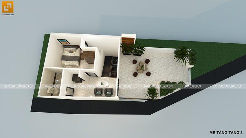 Phối cảnh bố trí tầng tum căn nhà ống của gia đình chị Phương tại Biên Hòa