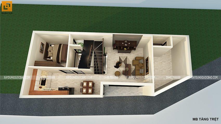 Mặt bằng công năng sử dụng tầng trệt nhà phố 3 tầng