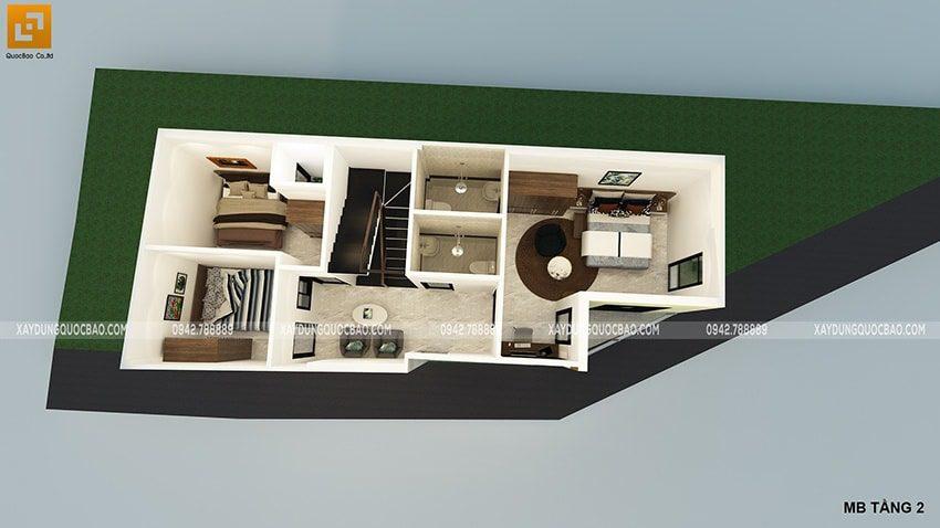 Mặt bằng công năng sử dụng lầu 1 ngôi nhà kết hợp kinh doanh