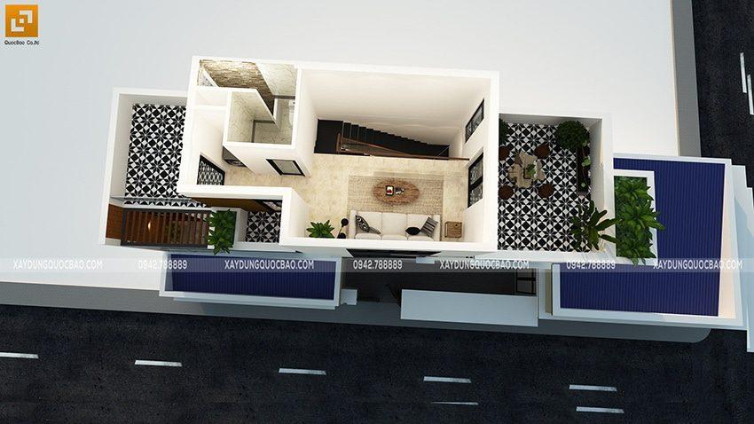 Mặt bằng phối cảnh tầng tum của ngôi nhà hiện đại
