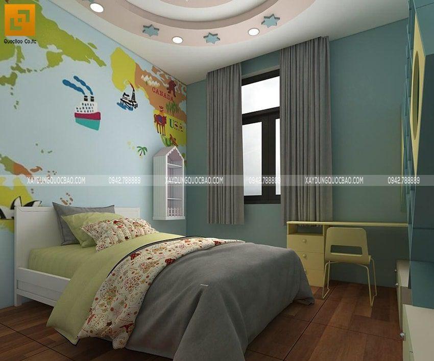 Phòng ngủ của bé trai được thiết kế với những họa tiết vui tươi