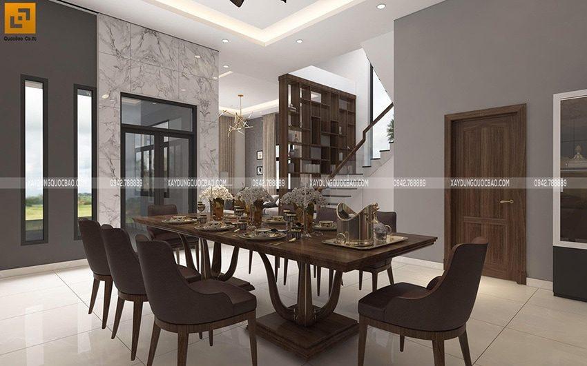Bộ bàn ăn bằng gỗ cao cấp đặt ngay chính giữa phòng. Khu vực bếp núc ngay bên cạnh bàn ăn nên rất thuận tiện mỗi khi bày biện món ăn hay dọn dẹp sau sau bữa ăn.