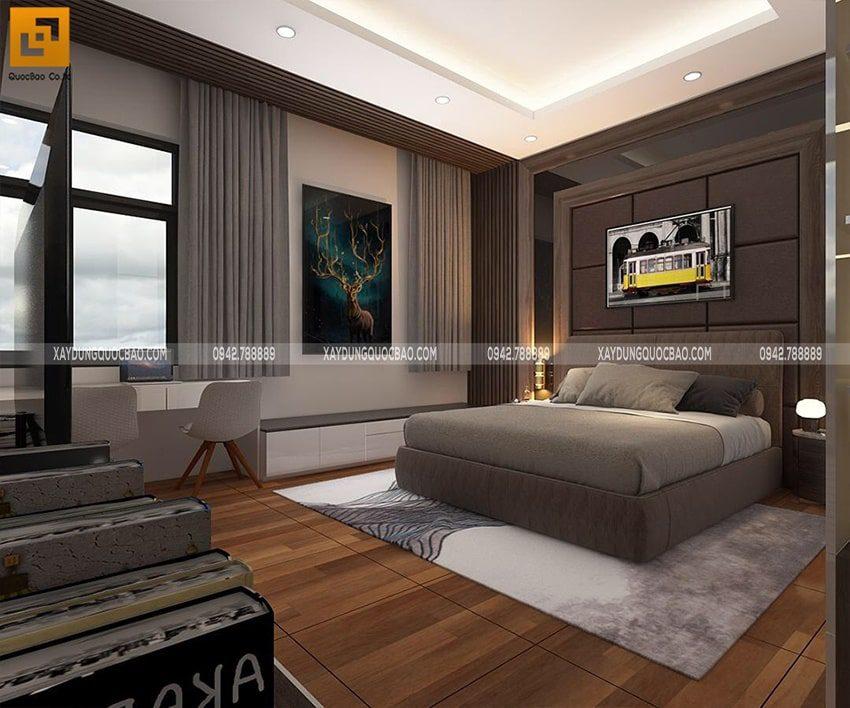 Phòng ngủ master sang trọng với gam màu nâu ấm áp