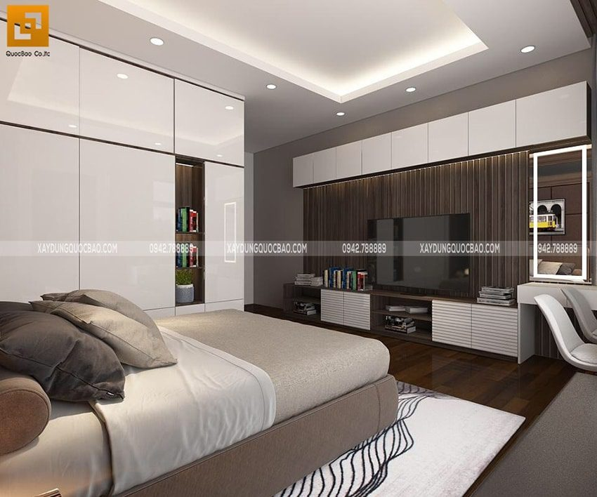 Phòng ngủ được ốp gỗ hoàn toàn, ánh sáng được bố trí phù hợp để gia chủ có những giấc ngủ ngon