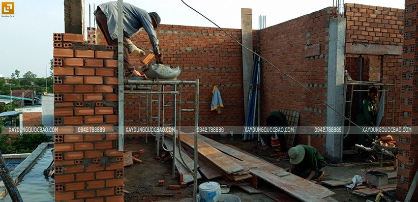 Thi công xây tường bao, tường ngăn lầu 1 - Ảnh 7