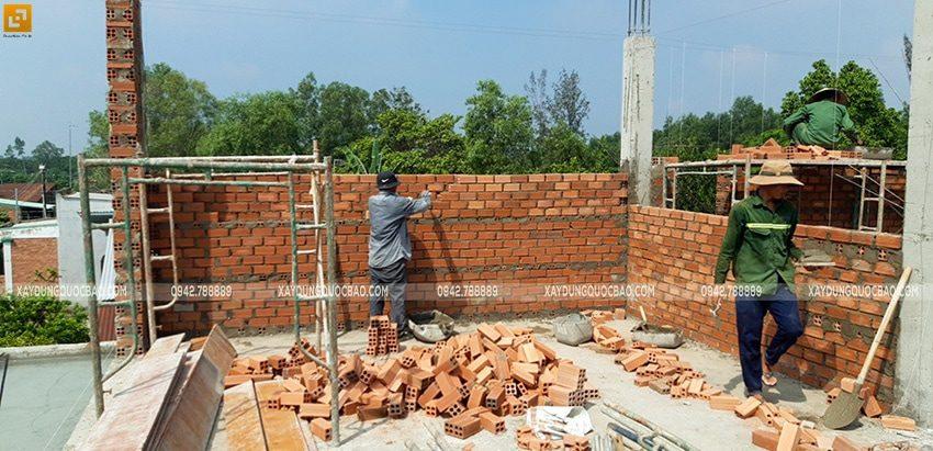 Thi công xây tường bao, tường ngăn lầu 1 - Ảnh 6
