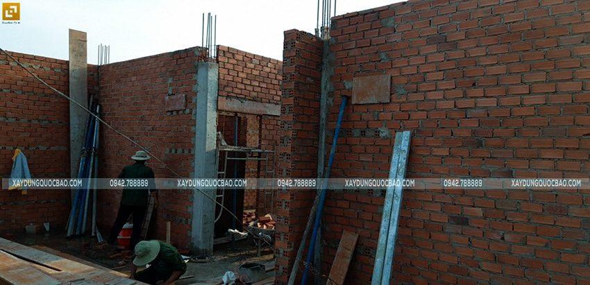 Thi công xây tường bao, tường ngăn lầu 1 - Ảnh 8