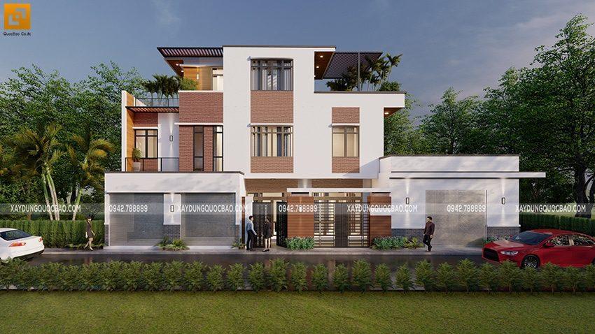 Thiết kế nhà phố 3 tầng hiện đại tại Biên Hòa của chị Dung