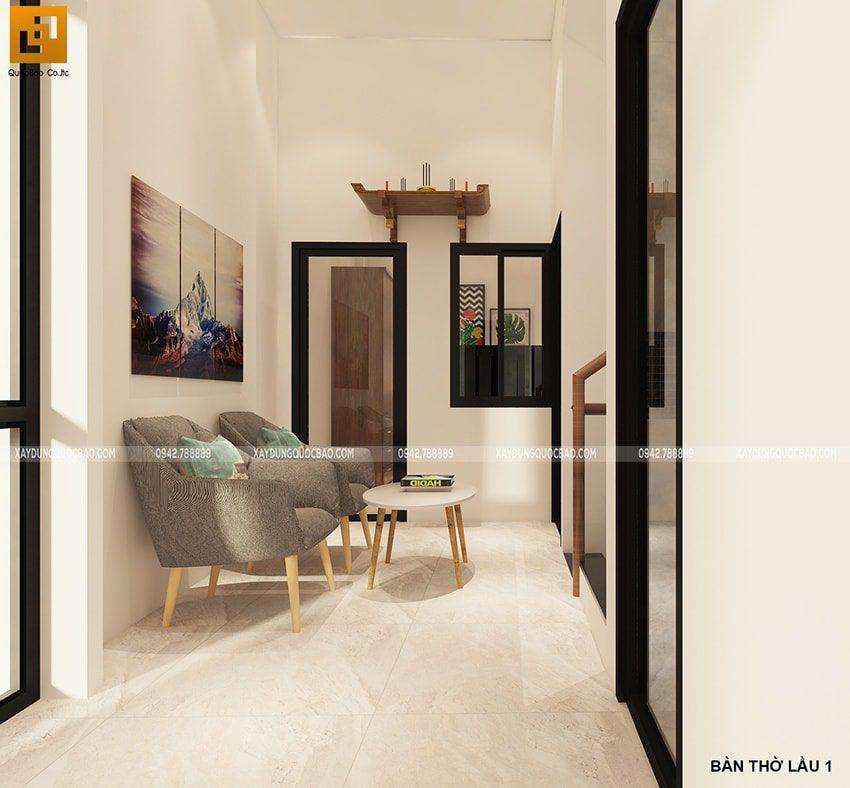 Thiết kế sảnh thang lầu 1 chính giữa không gian các phòng ngủ của nhà phố kết hợp kinh doanh