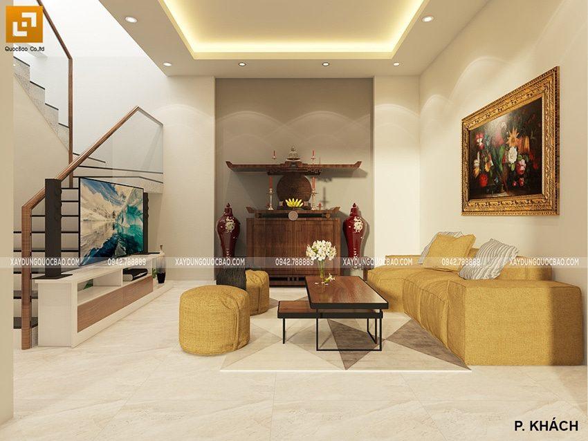Không gian nội thất phòng tiếp khách rộng và tiện nghi của nhà phố 3 tầng tại Đồng Nai