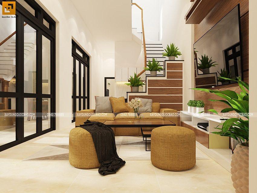 Phòng khách bố trí booj bàn ghế sofa để tiếp đón người thân và khách quý.