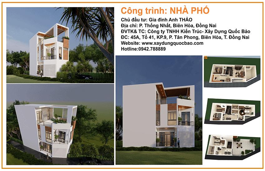 Khởi công nhà phố 3 tầng hiện đại gia đình anh Thảo chị Phương tại Biên Hòa - Đồng Nai