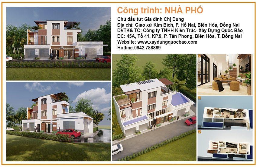 Thi công nhà phố 3 tầng 2 mặt tiền gia đình chị Dung tại Biên Hòa - Đồng Nai