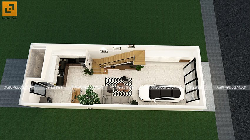 Bố trí mặt bằng công năng sử dụng tại tầng trệt nhà phố
