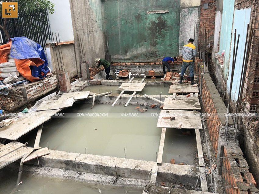 Thi công phần móng nhà ống 3 tầng - Ảnh 11