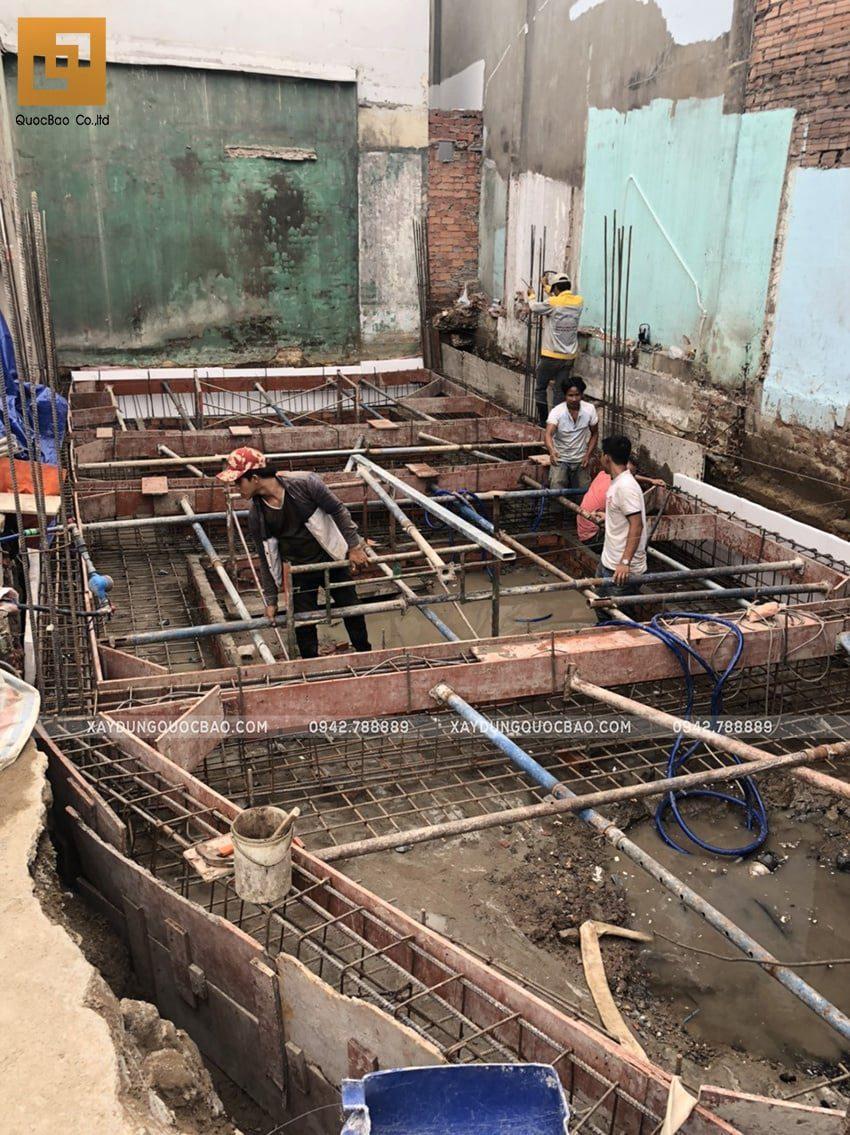 Thi công phần móng nhà ống 3 tầng - Ảnh 5