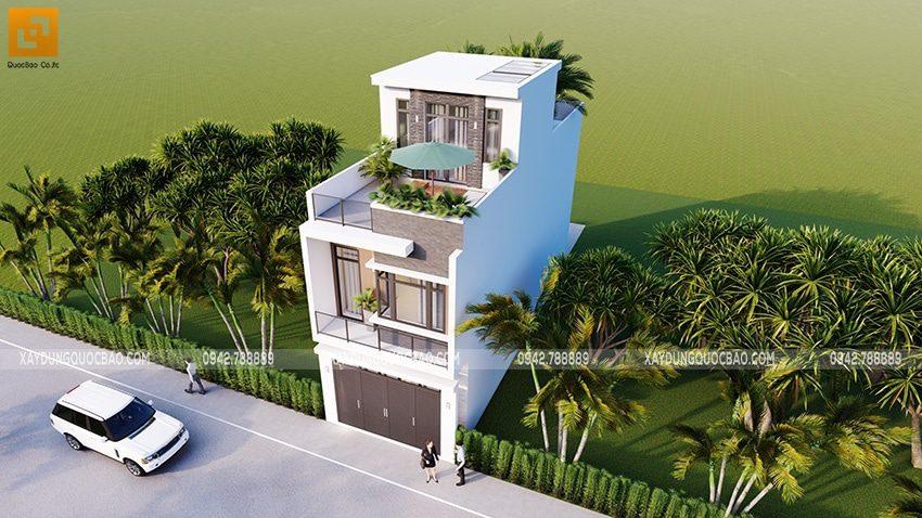 Sân thượng phía trước và sau tại tầng tum được gia chủ thiết kế nhiều mảng cây xanh vừa tạo cảnh quan thiên nhiên vừa che mát cho ngôi nhà
