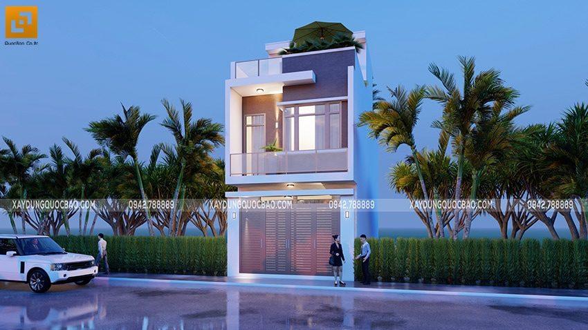 Ngôi nhà 1 trệt 2 lầu nổi bật giữa lòng phố thị đông đúc