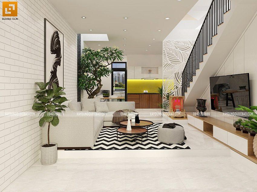 Bố trí nội thất trong phòng khách đẹp với bộ bàn ghế sofa ngay chính giữa căn phòng
