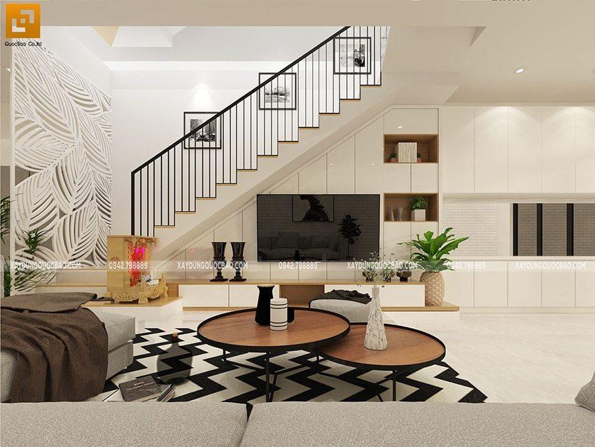 Bộ bàn ghế phòng khách đơn giản nhưng độc đáo, kệ tivi lớn để gia đình cùng tận hưởng giây phút giải trí bên nhau