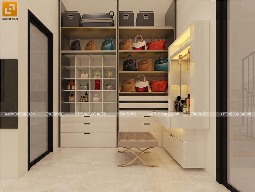 Phòng thay đồ và bàn trang điểm sang trọng trong phòng ngủ master