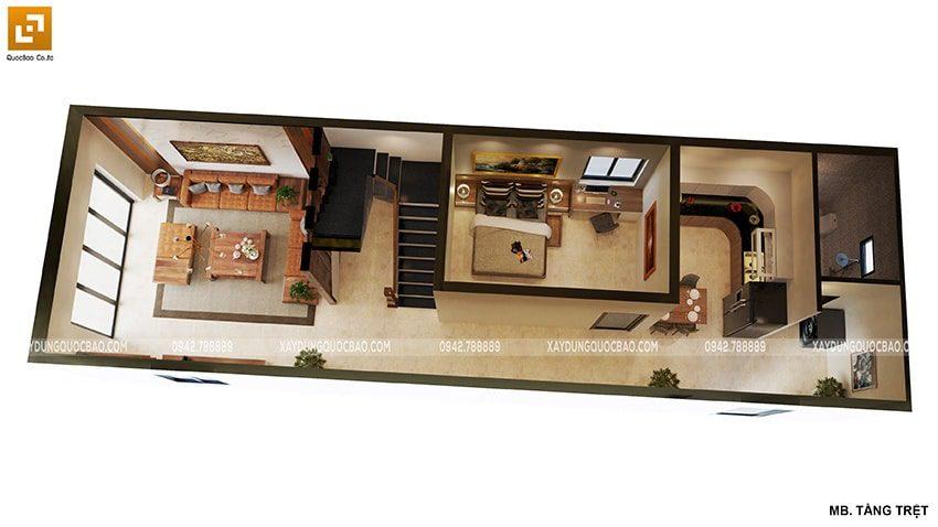 Bố trí công năng sử dụng tầng trệt của ngôi nhà