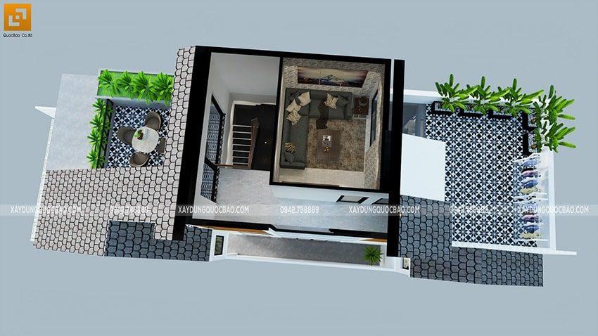 Mặt cắt thể hiện nội thất phòng karaoke tại tầng tum, sân thượng trước và sau trồng nhiều cây xanh