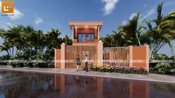 Mẫu thiết kế nhà phố 2 tầng mái bằng của gia đình bác Năm tại Long Thành - Đồng Nai