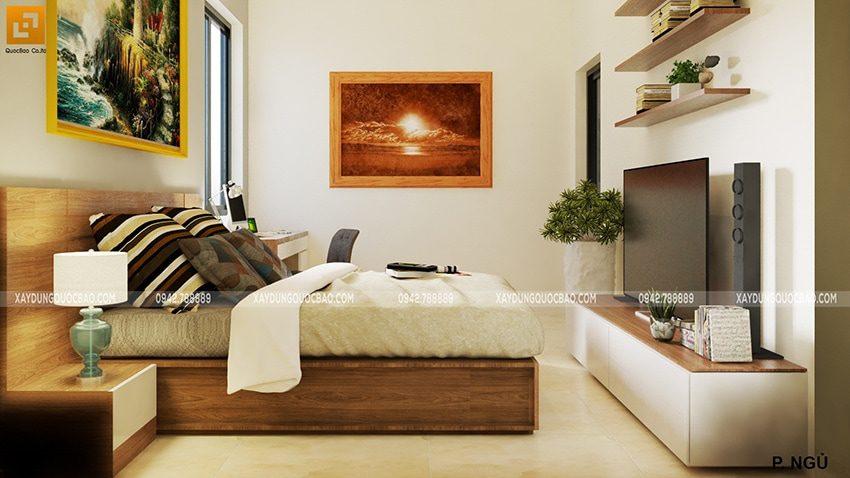 Phòng ngủ master được trang trí gam màu nhẹ nhàng giúp vợ chồng gia chủ có giấc ngủ ngon hơn.