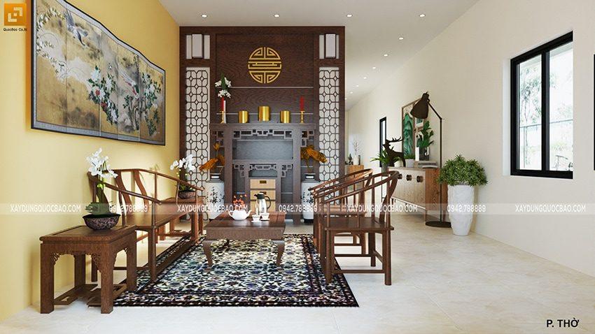 Phòng thờ trang nghiêm, trên tường trang trí bức tranh thủy mặc khổ lớn