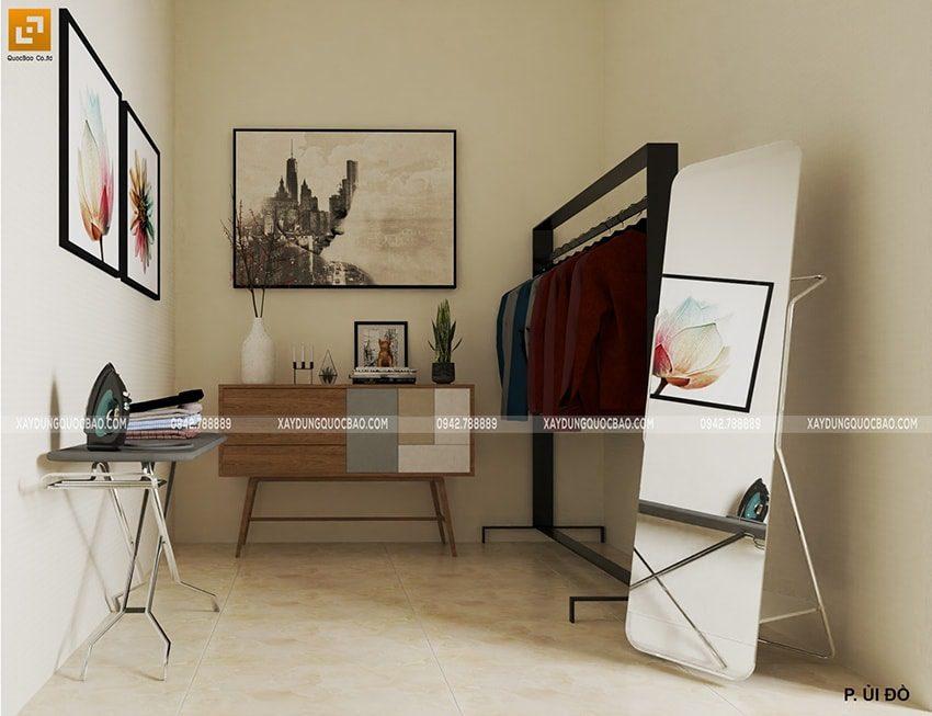 Khu vực ủi quần áo của chủ nhân căn nhà là không gian mở nên gia chủ có thể linh hoạt sử dụng cho nhiều mục đích khác nhau.