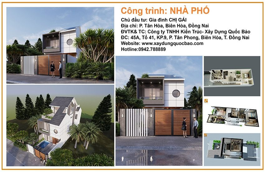 Thi công hoàn thiện nhà mái ngói 3 tầng của anh Hùng chị Thủy tại Biên Hòa