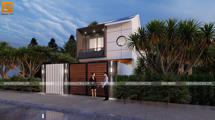 Sự hòa quyện của 3 tông màu trắng, xám ghi và nâu gỗ kiến tạo gia trị và đẳng cấp của ngôi nhà