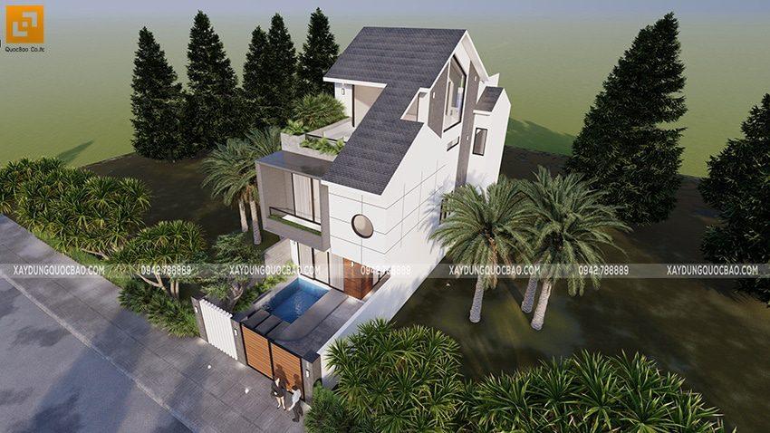 Thiết kế mái dốc đổ xuôi từ đỉnh xuống lầu 2 giúp thoát nước mưa dễ dàng hơn