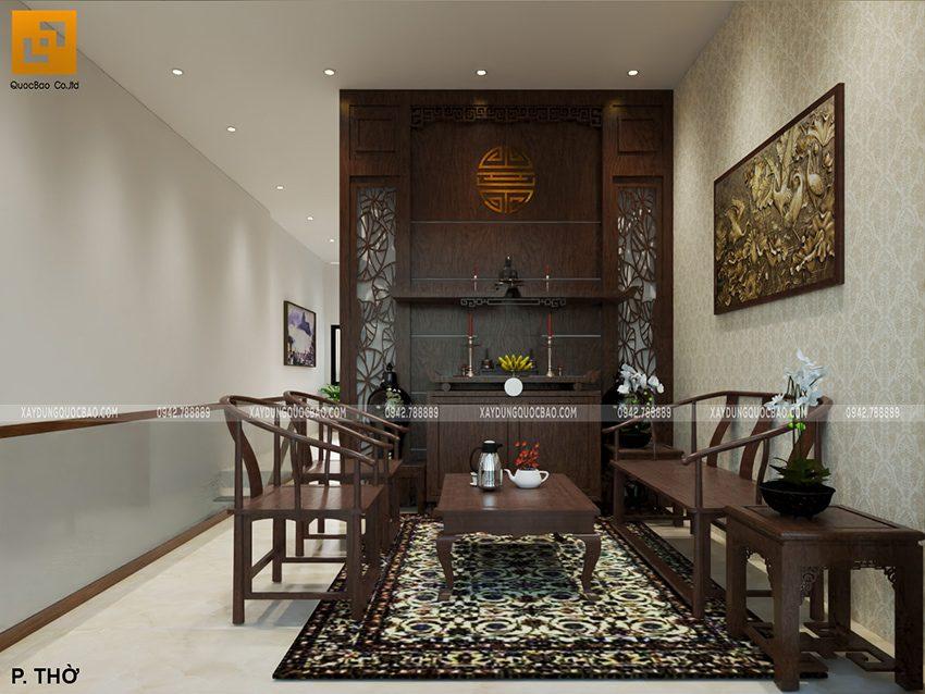 Không gian tâm linh trong phòng thờ trang nghiêm, bộ bàn thờ và bức vách đều sử dụng chất liệu gỗ cao cấp. Sắc gỗ trầm tăng thêm sự trang nhã, an nhiên cho không gian sinh hoạt gia đình.