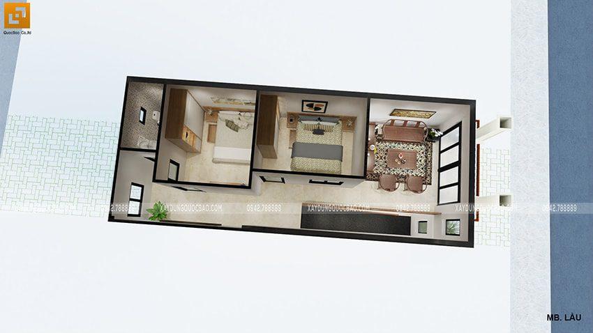 Không gian nội thất lầu 1 của gia đình chị Dung