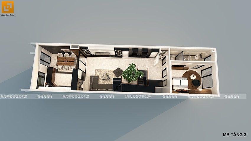Phối cảnh nội thất tầng 2 của ngôi nhà