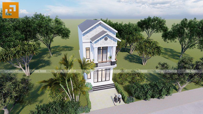Bố cục của ngoại thất nhà phố đẹp hơn khi kết hợp mảng xanh với những chậu cây cảnh bonsai trang điểm.