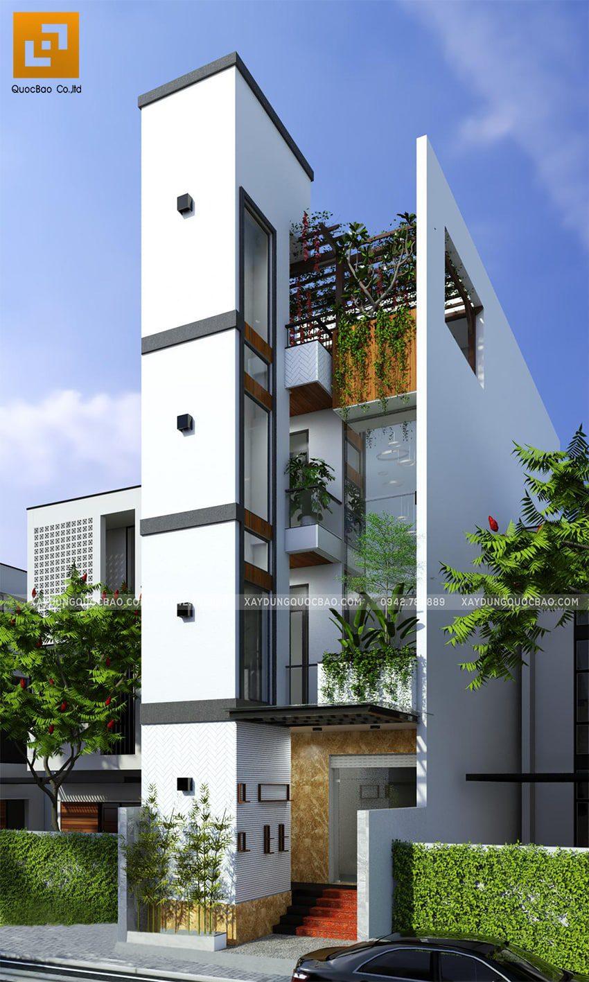 Phối cảnh tổng thể mẫu thiết kế nhà lô ống cho thuê có thang máy có giếng trời 4 tầng hiện đại