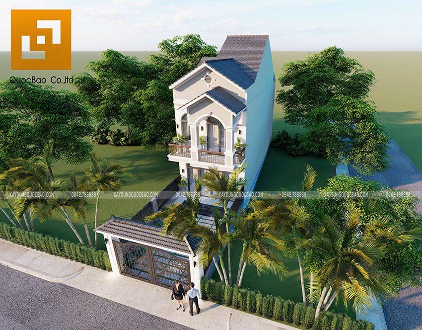 Phối cảnh tổng thể mẫu thiết kế nhà mái thái 2 tầng hiện đại, sang trọng