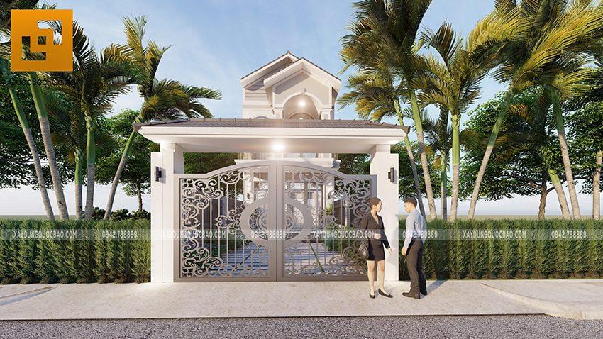 Thiết kế cổng nhà đẹp với khung cửa sắt CNC kỹ nghệ mẫu mã hiện đại