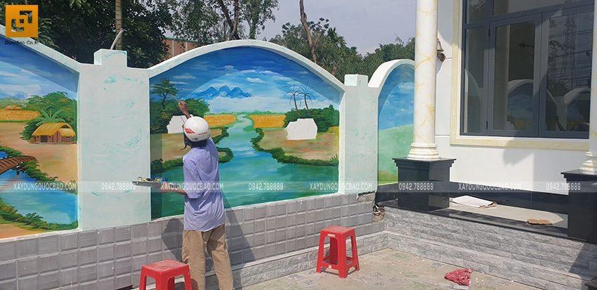 Trang trí tranh vẽ tường đẹp trong sân nhà - Ảnh 2
