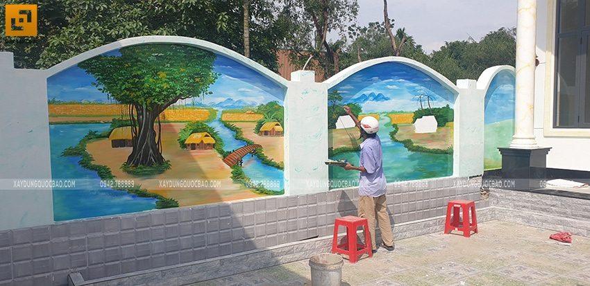 Trang trí tranh vẽ tường đẹp trong sân nhà - Ảnh 1