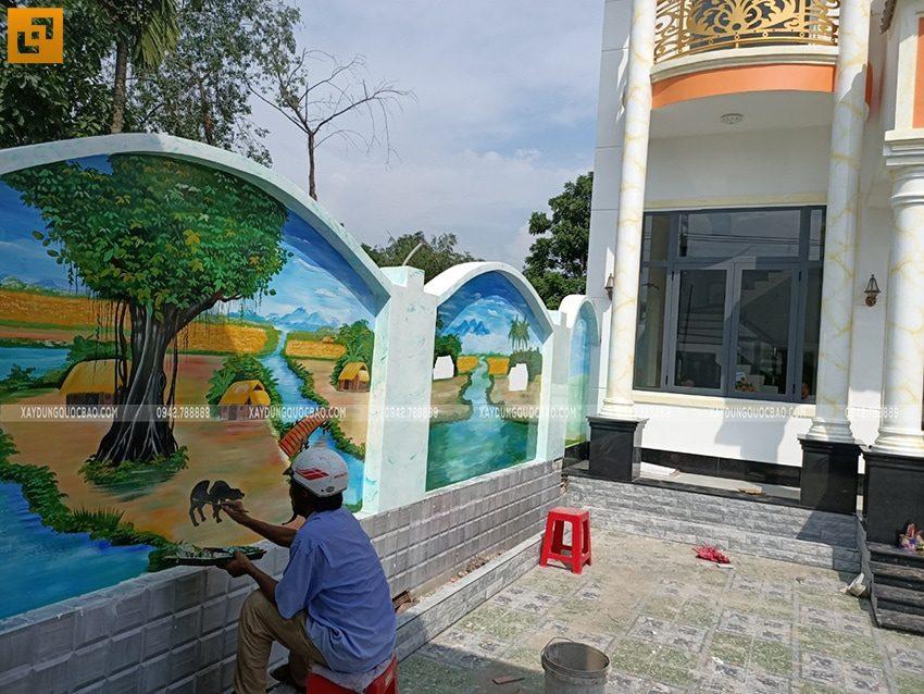 Trang trí tranh vẽ tường đẹp trong sân nhà - Ảnh 3